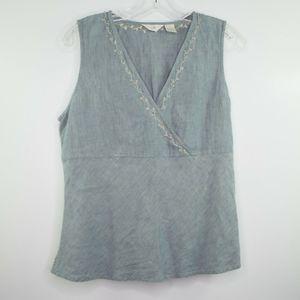 J JILL 100% Linen TOP Sleeveless BEADED Shirt 12